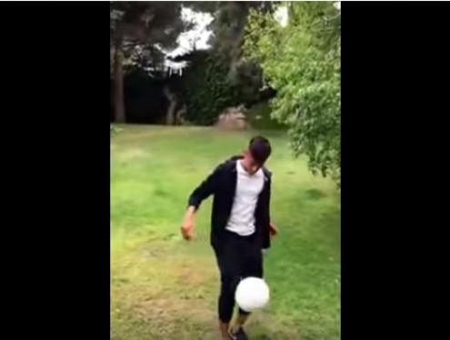 Neymar durante el reto