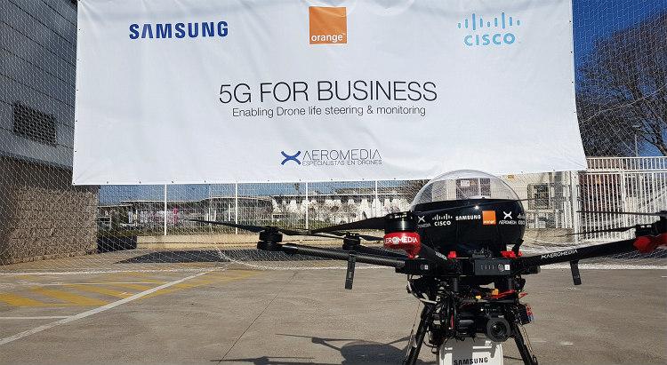 Primer vuelo de dron 5G realizado por Aeromedia en MWC19